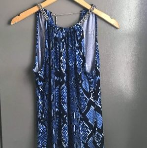 💕Michael Kors Blue Snake Print Chain Neck